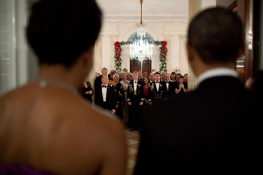 History Photograph - President And Michelle Obama Face White by Everett