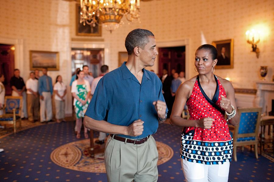 History Photograph - President And Michelle Obama Pretend by Everett