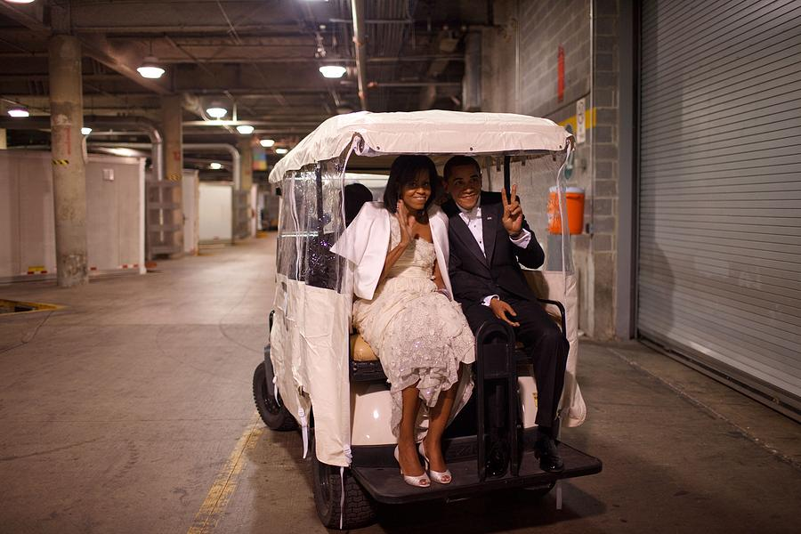 History Photograph - President And Michelle Obama Ride by Everett