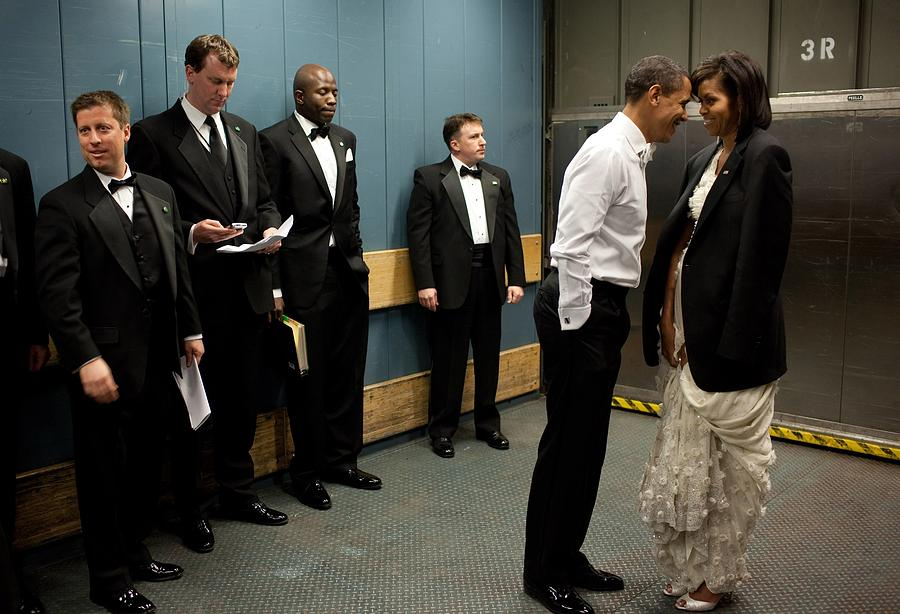 History Photograph - President And Michelle Obama Share by Everett