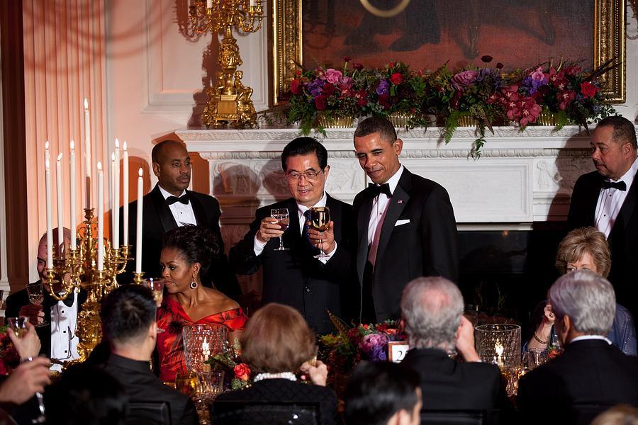 History Photograph - President Barack Obama And President Hu by Everett