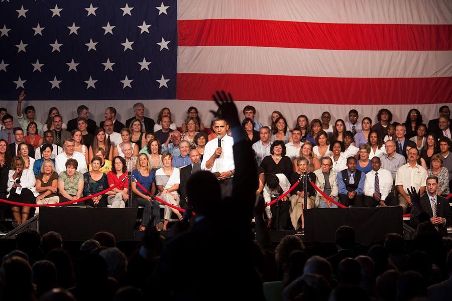 History Photograph - President Barack Obama Answers by Everett