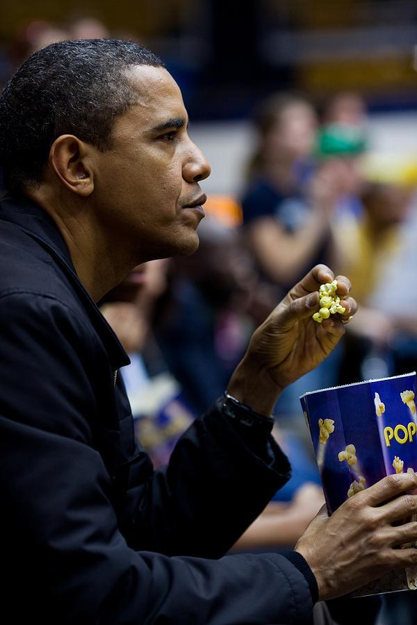 History Photograph - President Barack Obama Eats Popcorn by Everett