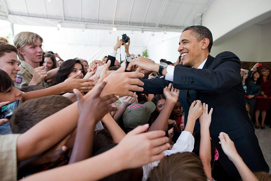 History Photograph - President Barack Obama Greets Young by Everett