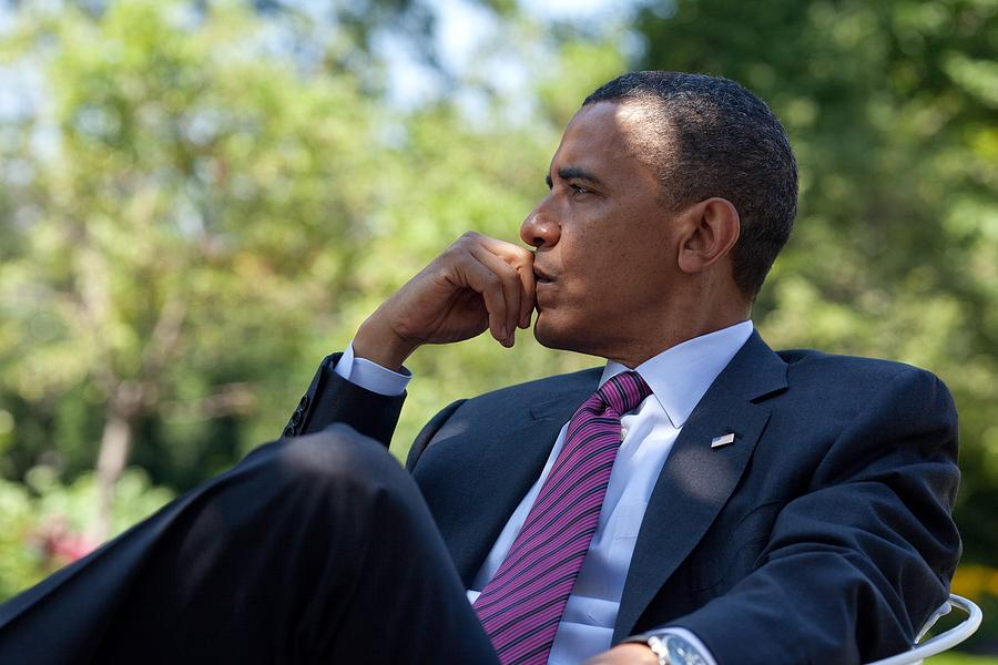 History Photograph - President Barack Obama Is Briefed by Everett