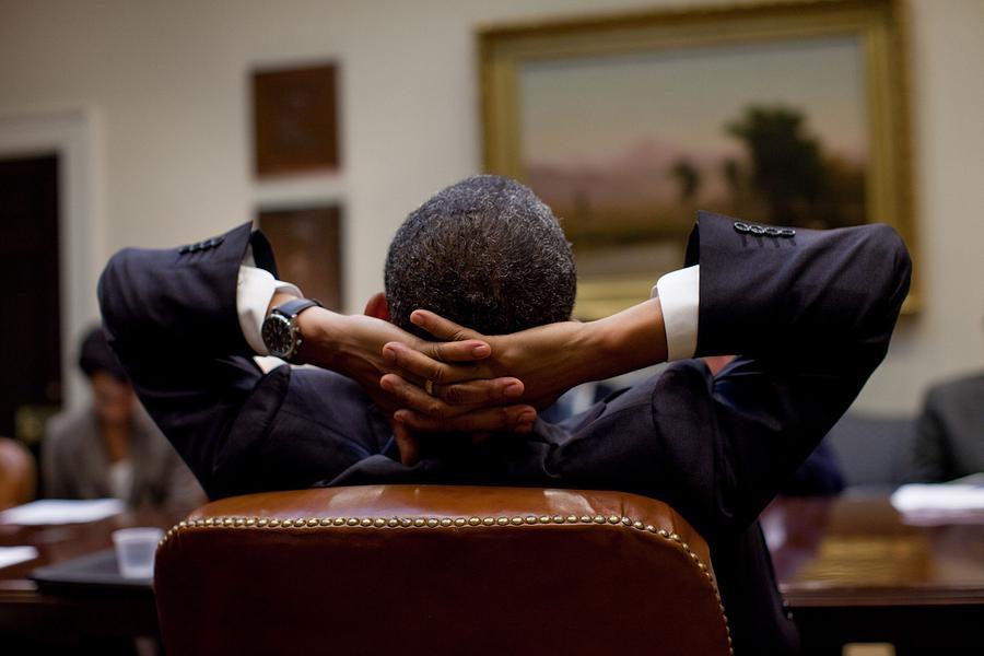 History Photograph - President Barack Obama Leans Back by Everett