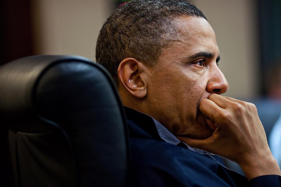 President Barack Obama Listens Photograph by Everett