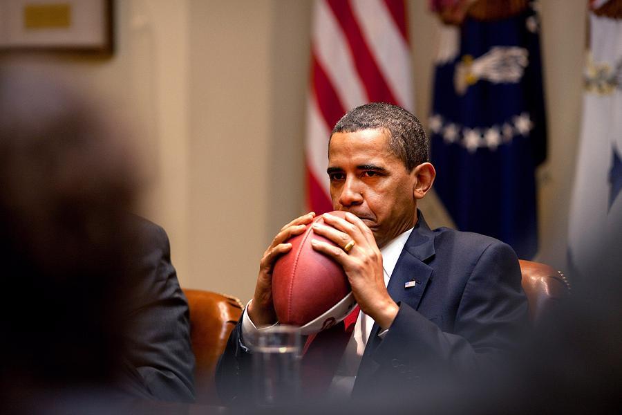 History Photograph - President Barack Obama Pensively Holds by Everett