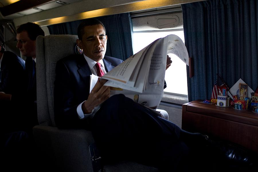 History Photograph - President Barack Obama Reading by Everett
