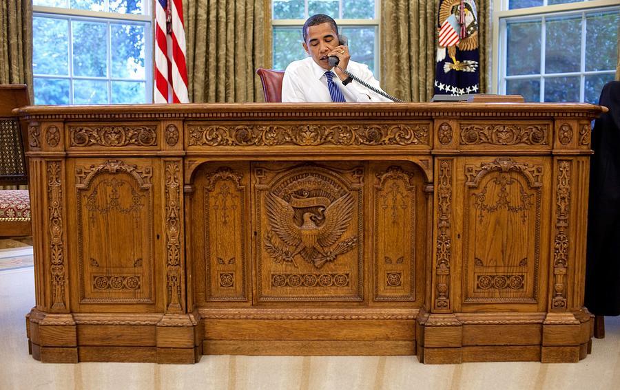 History Photograph - President Barack Obama Sits by Everett