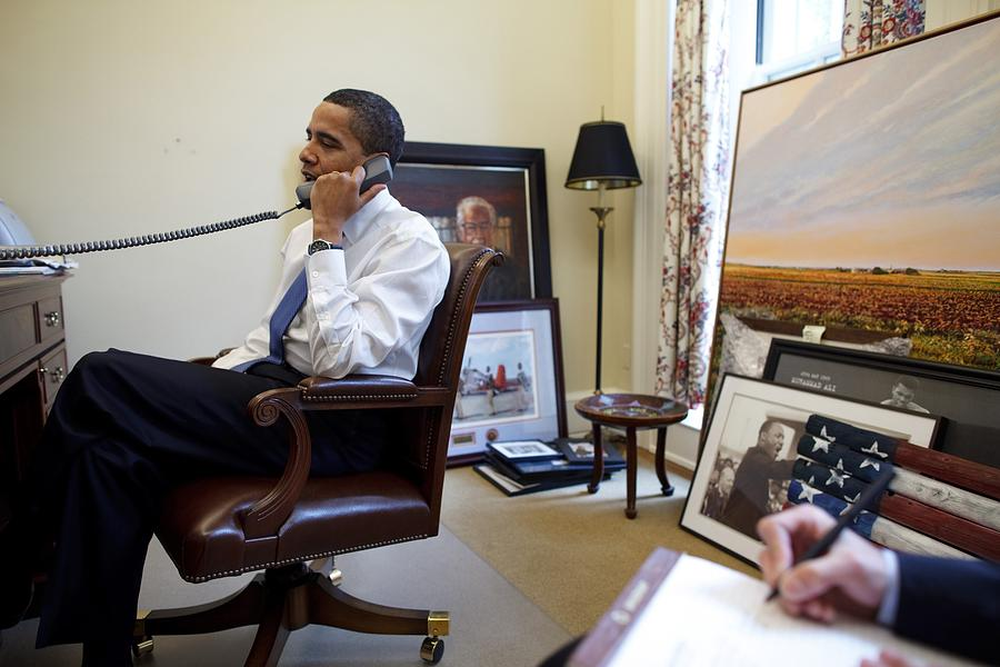History Photograph - President Barack Obama Takes A Phone by Everett