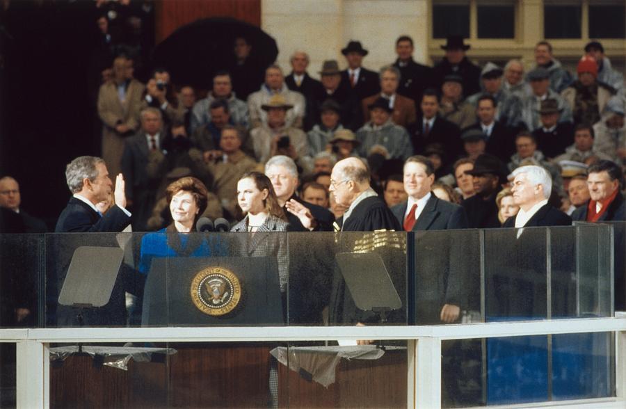History Photograph - President-elect George W. Bush Is Sworn by Everett