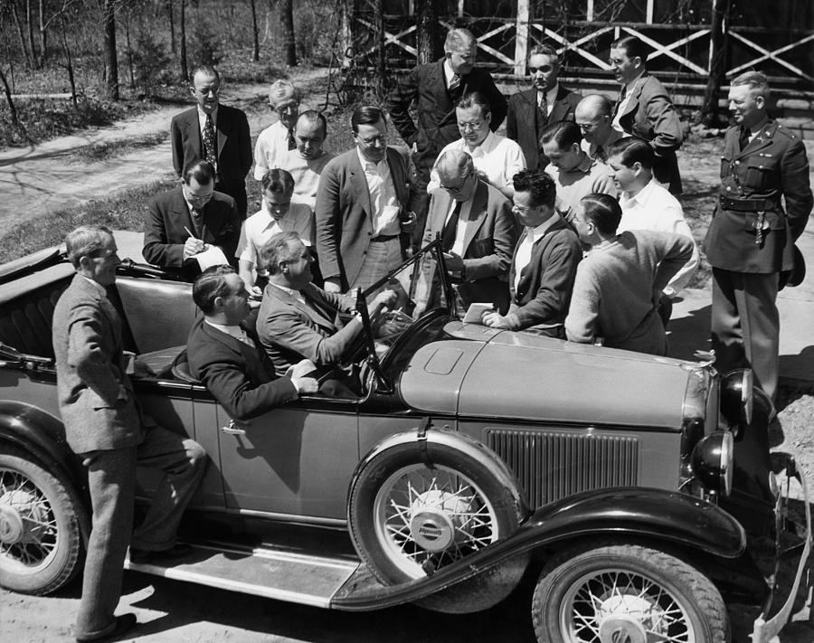 1930s Candid Photograph - President Franklin D. Roosevelt In Car by Everett