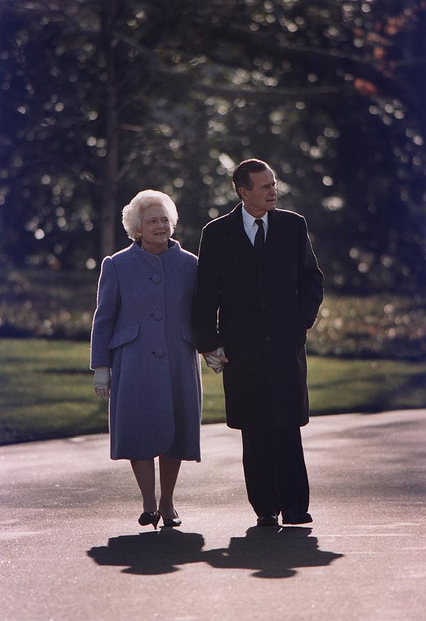 History Photograph - President George And Barbara Bush Take by Everett