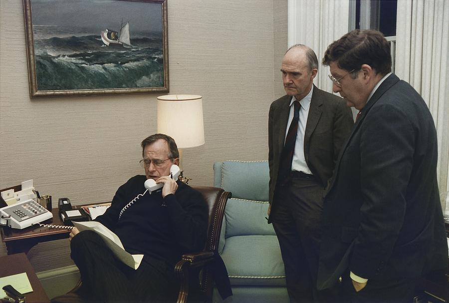 History Photograph - President George Bush In A Telephone by Everett