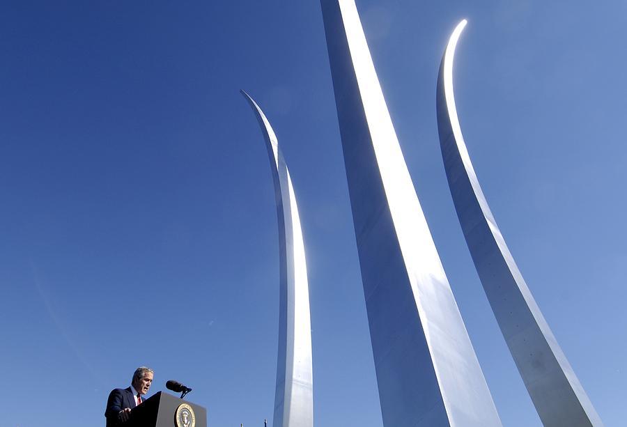 History Photograph - President George W. Bush Speaking by Everett