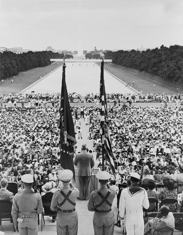 History Photograph - President Harry S. Truman Between Flags by Everett