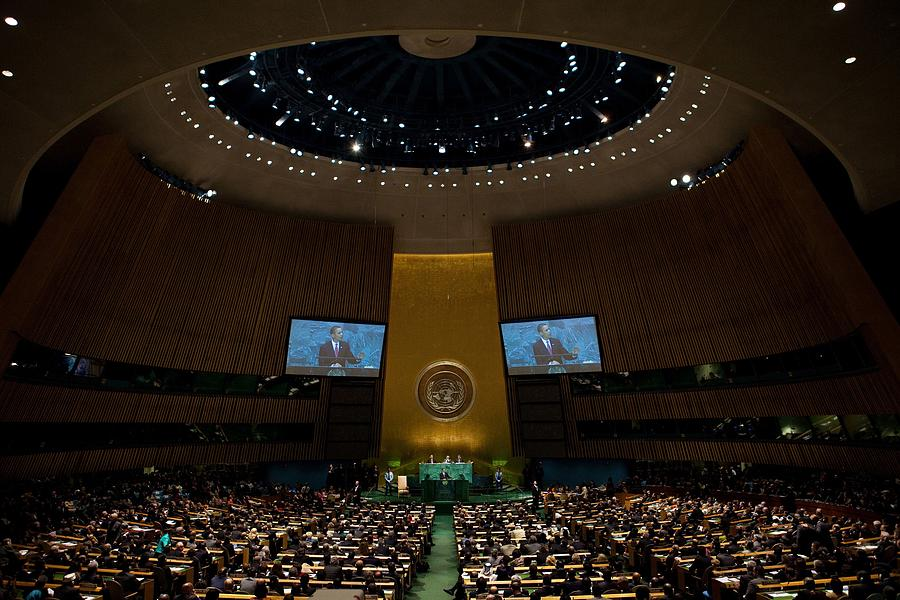 History Photograph - President Obama Addresses The Un by Everett