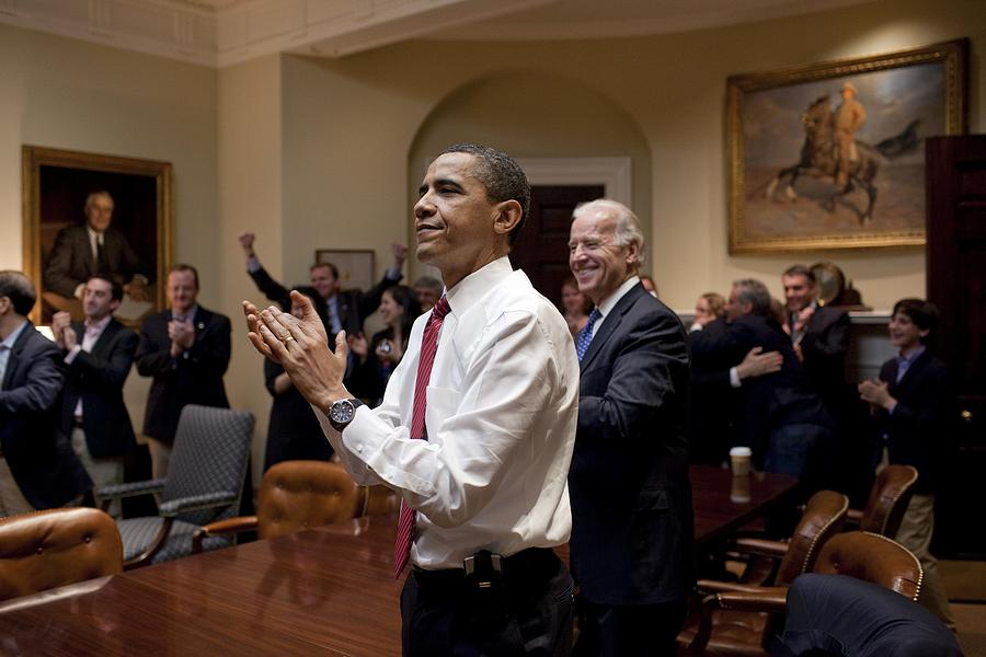 History Photograph - President Obama And Vp Biden Applaud by Everett
