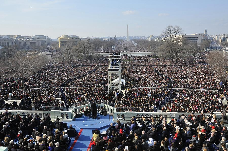 History Photograph - President Obama Delivers His Inaugural by Everett