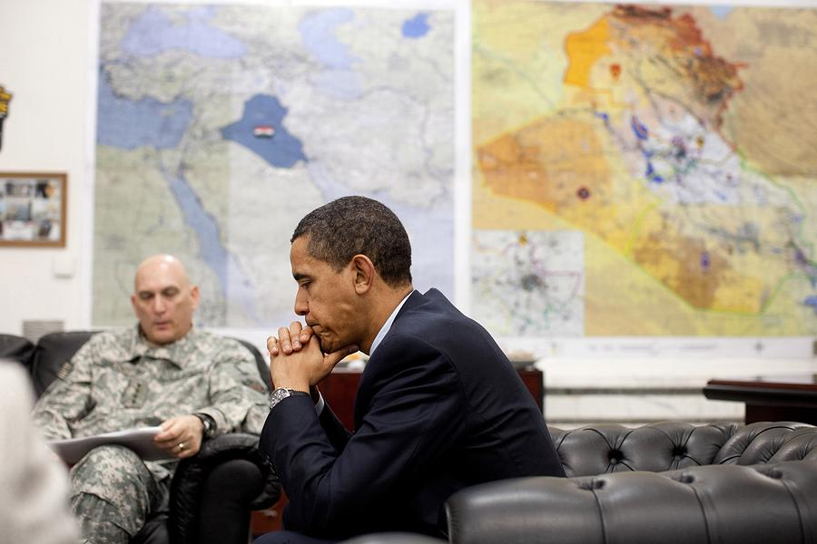 History Photograph - President Obama Meets With Gen. Raymond by Everett