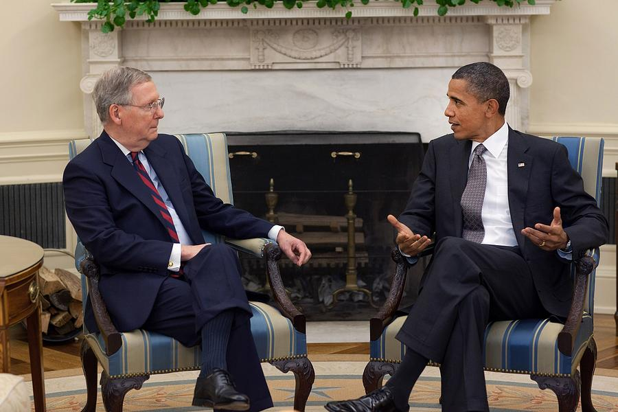 History Photograph - President Obama Meets With Senate by Everett