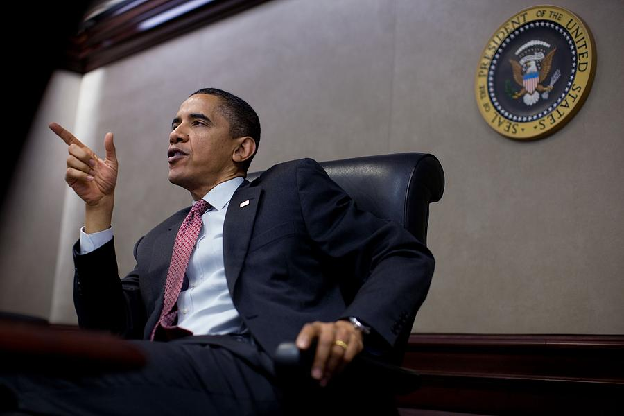 History Photograph - President Obama Speaks During A Meeting by Everett