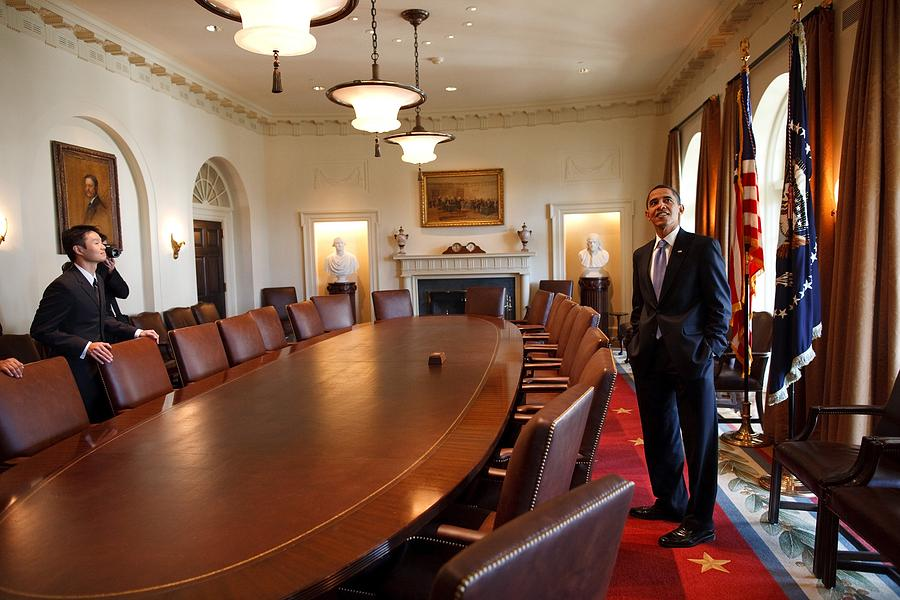 History Photograph - President Obama Surveys The Cabinet by Everett