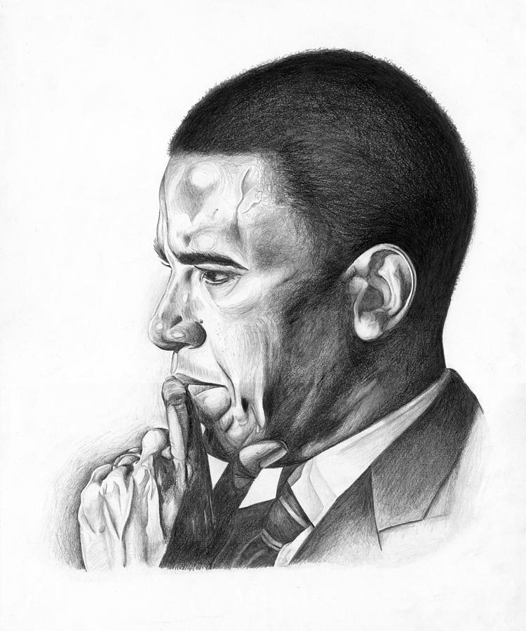 Barack Drawing - Presidential Thoughts by Jeff Stroman