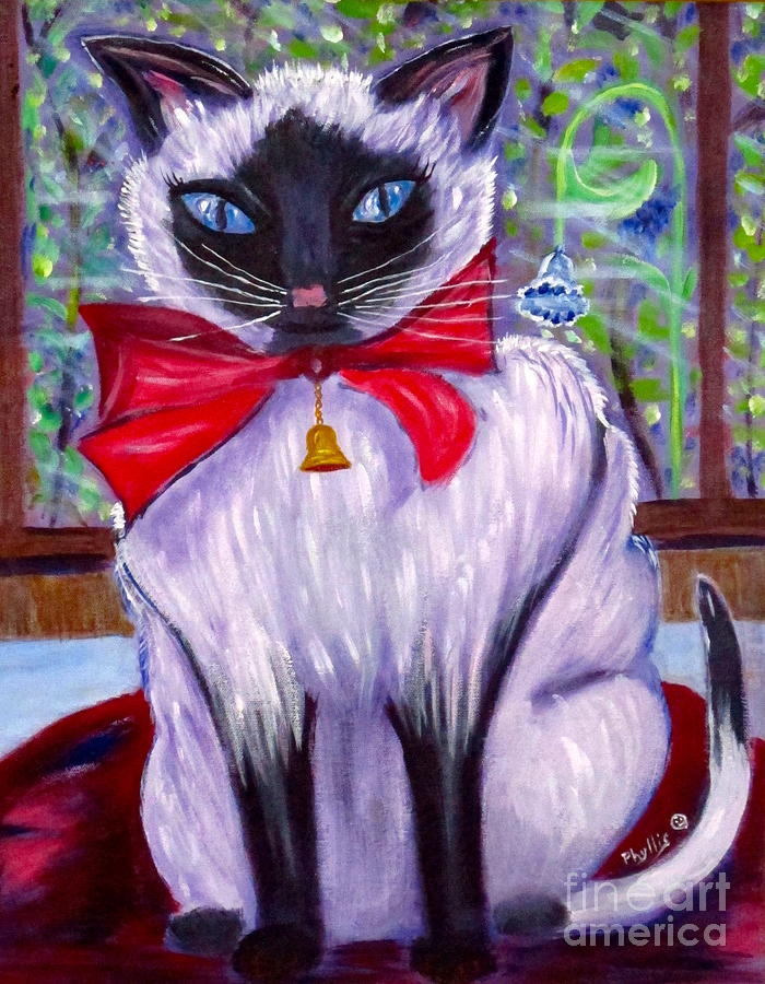 Siamese Cat Painting - Pretty Fat Cat by Phyllis Kaltenbach