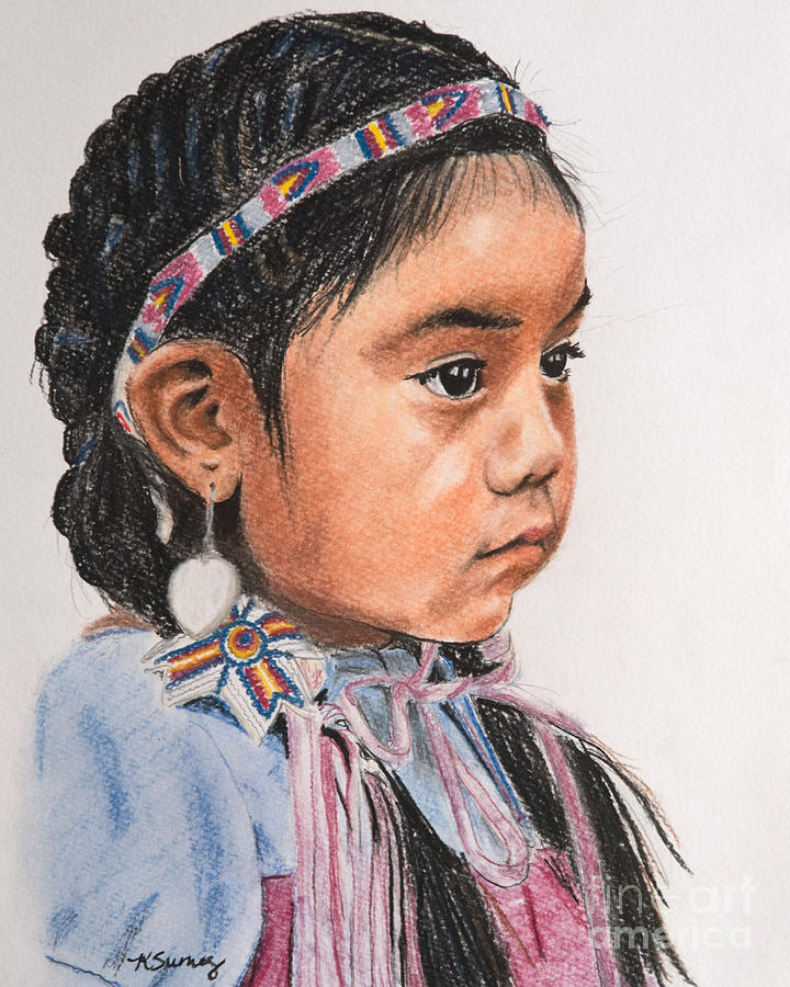 pretty native american girl pastel by kate sumners