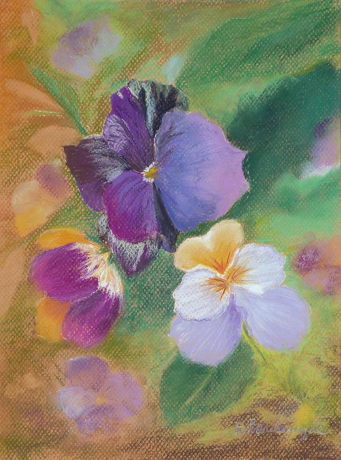 Still Life Pastel - Pretty Pansies by Diane Larcheveque