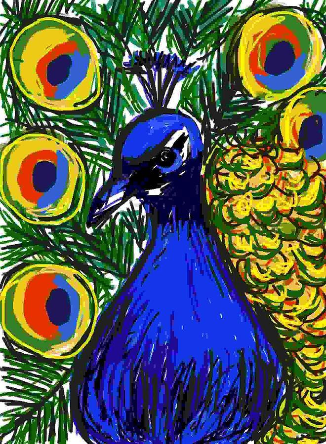 Animal Digital Art - Pretty Peacock by Caroline Lifshey