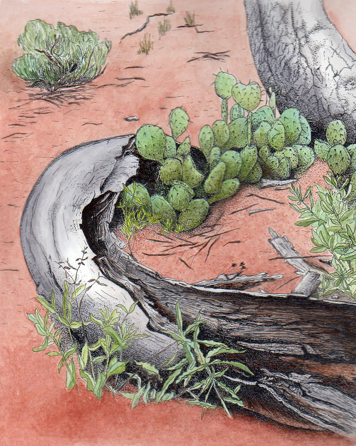 Prickly Pear Cacti Painting - Prickly Pear Cacti In Zion by Inger Hutton