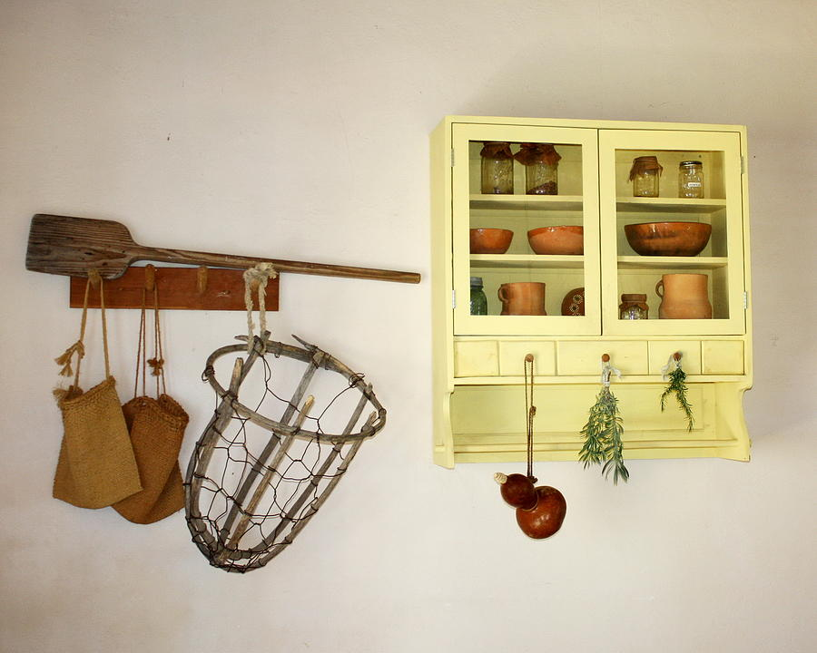 Primitive Kitchen Wall Yellow Cupboard Photograph by Terry Fleckney