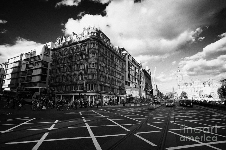 Princes Photograph - Princes Street And St David Street South With Tram Lines And Old Waverly Hotel Edinburgh Scotland Uk by Joe Fox