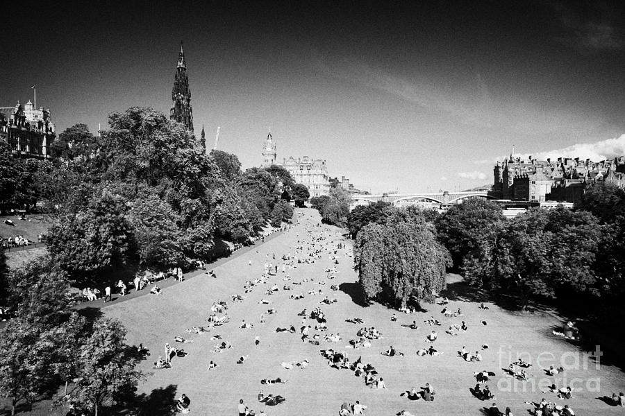 Princes Photograph - Princes Street Gardens On A Hot Summers Day In Edinburgh Scotland Uk United Kingdom by Joe Fox