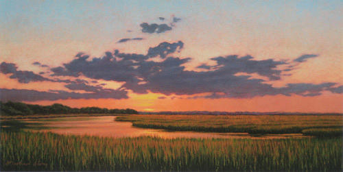 Marsh Scenes Painting - Print Cloud Covering by Michael Story