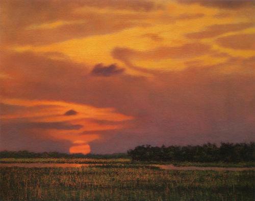Marsh Scenes Painting - Print Crimson Sun by Michael Story