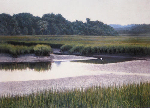 Marsh Scenes Painting - Print Lone Egret by Michael Story