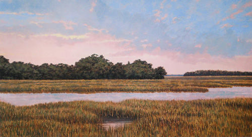 Marsh Scenes Painting - Print Marsh Light by Michael Story