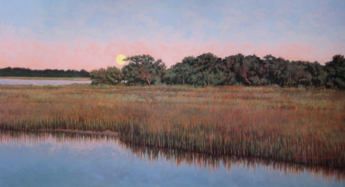 Marsh Scenes Painting - Print Moonlit Marsh  by Michael Story