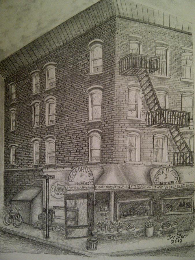 Latino Drawing - Produce Market In Brooklyn by Irving Starr