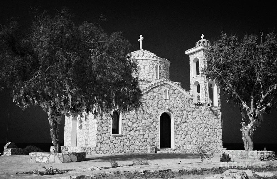 Prophet Photograph - Prophet Elias Church Profitis Ayios Elias With Prayer Rag Trees Hilltop Protaras Republic Of Cyprus by Joe Fox