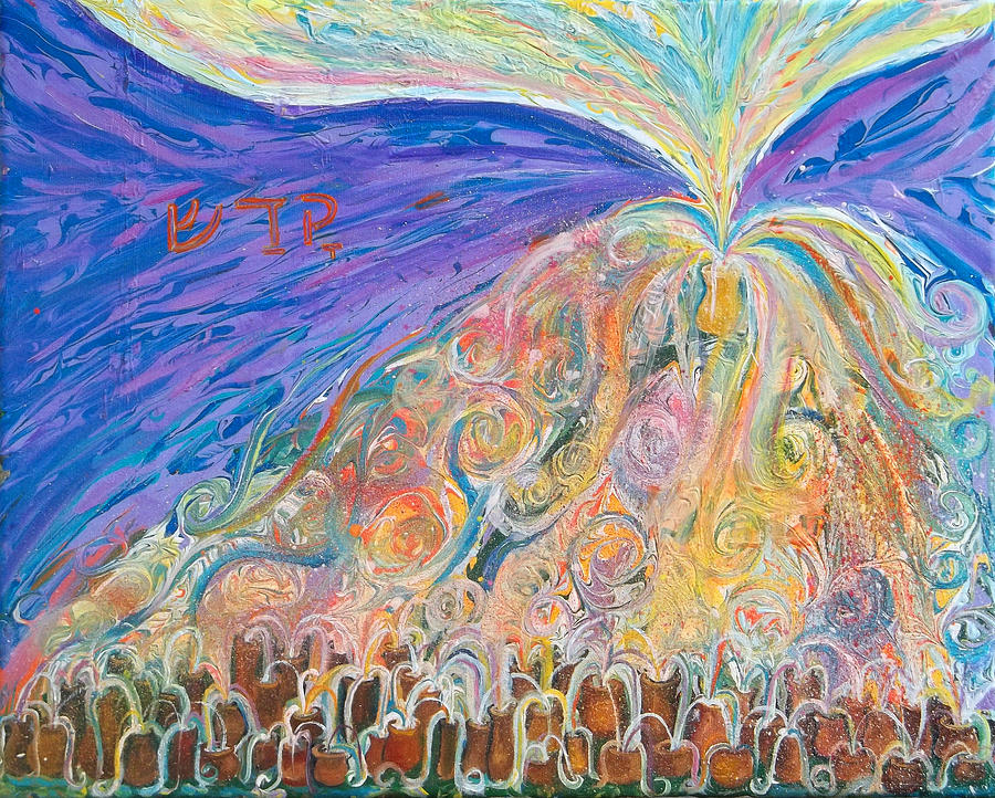 Prophetic Painting - Prophetic Message Sketch 22 Sanctify Glory Pouring Into Vessel On The Mountain  by Anne Cameron Cutri