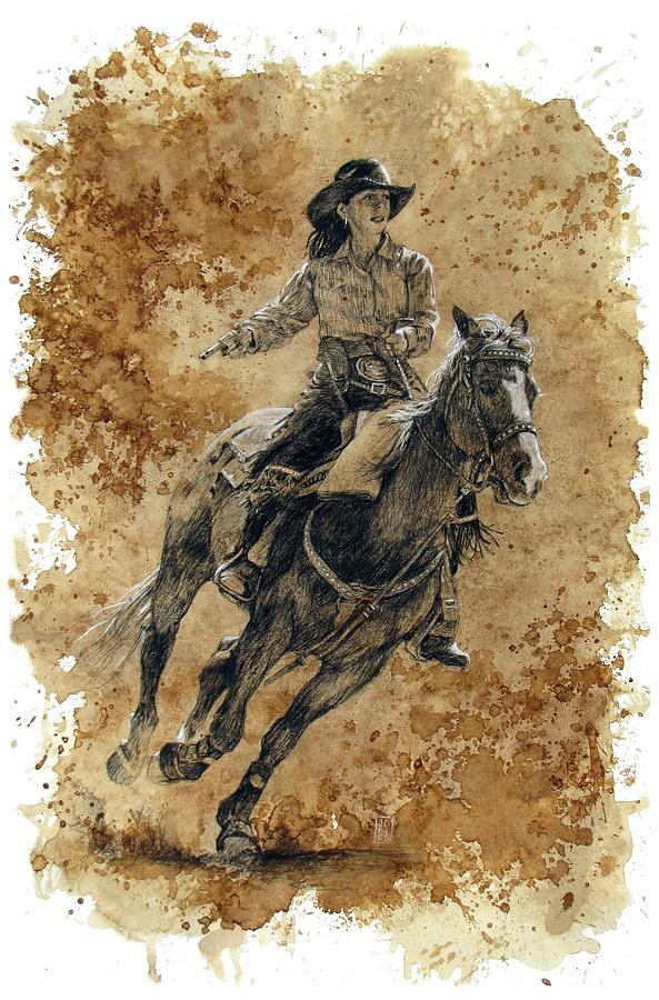 Cowboys Drawing - Protecting The Mail by Debra Jones