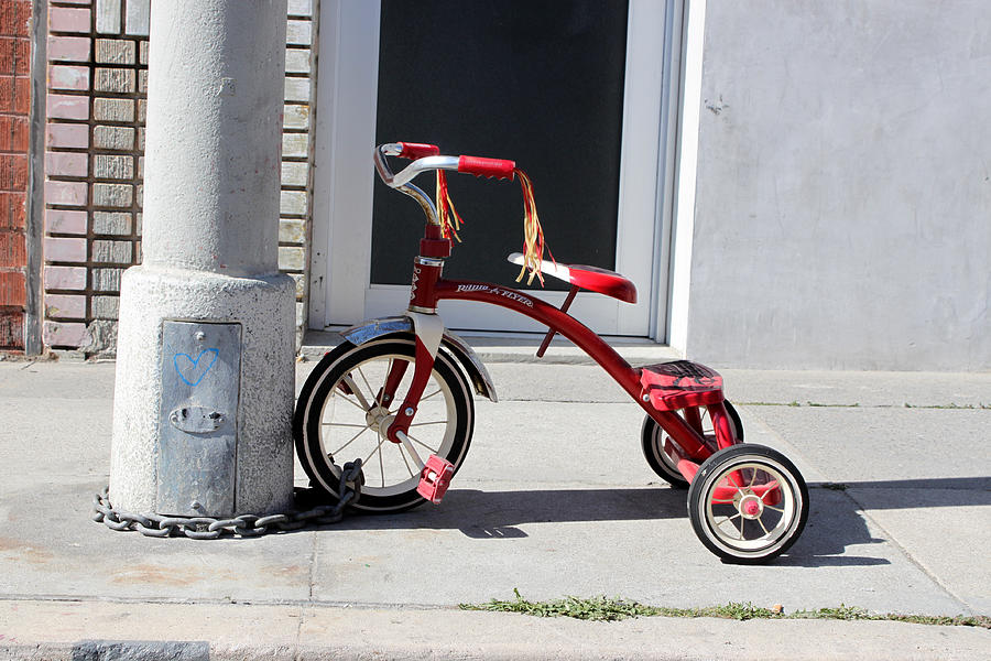 Tricycle Bicycle Lock Protection Venice Beach California Chain Valuable Photograph - Protecting The Wheelz by Robert Sebolt
