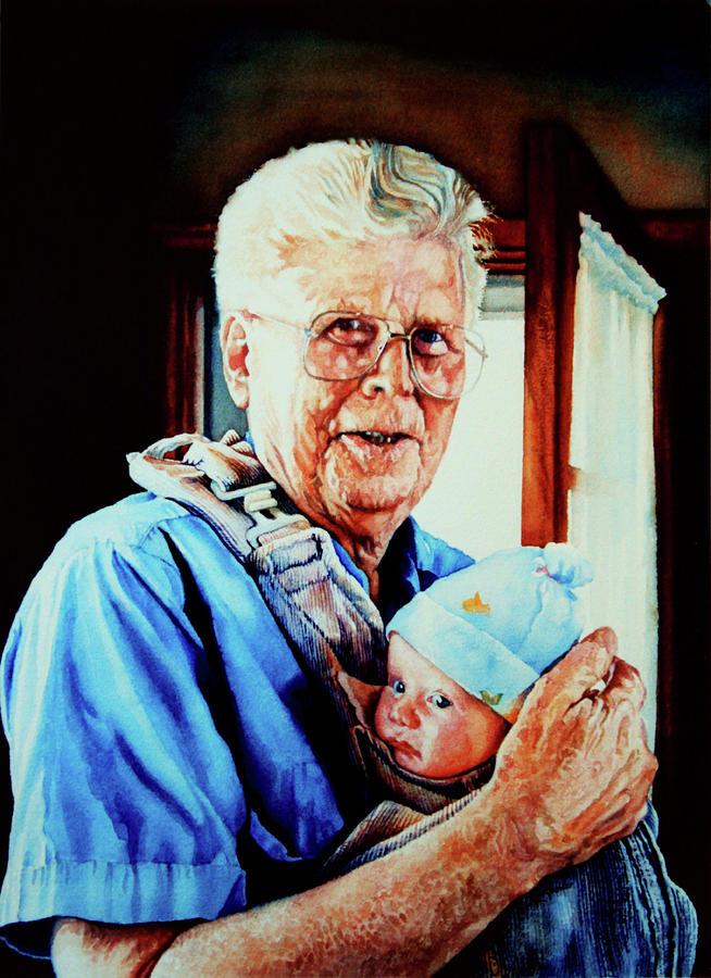 Family Portrait Painting - Proud Grandpa by Hanne Lore Koehler