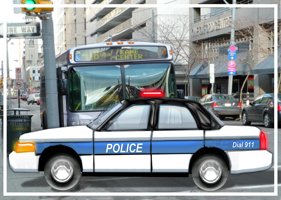 Police Painting - Proud Police Car In The City  by Elaine Plesser