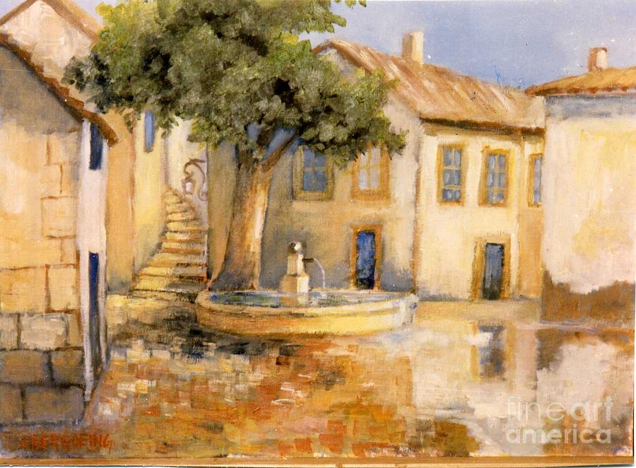 Square Painting - Provenzal Square by Jean Pierre Bergoeing